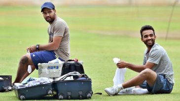 Bengaluru : Cricketers Rohit Sharma and Ajinkiya Rahane during the preparatory camp for the upcoming series against South Africa at NCA in Bengaluru on Wednesday. PTI Photo by Shailendra Bhojak (PTI9_23_2015_000210B)